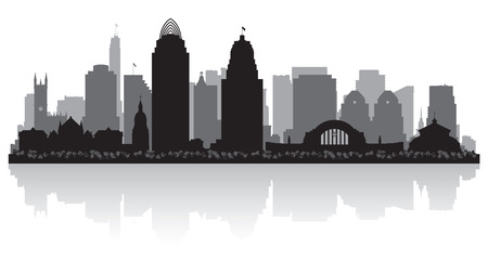 waterfront: Cincinnati Ohio city skyline silhouette illustration Illustration