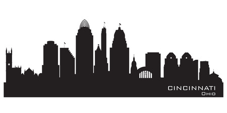 ohio: Cincinnati Ohio skyline Detailed silhouette Illustration