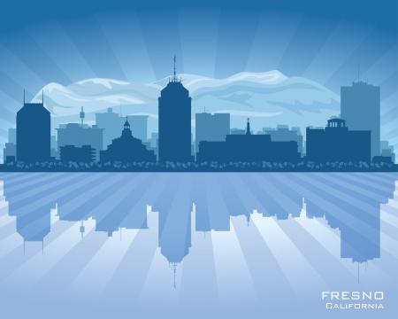 Fresno California panorama města vektorové ilustrace siluetu