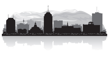 Fresno California city skyline vector silhouette illustration