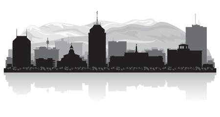 Fresno California city skyline vector silhouette illustration Фото со стока - 25465261