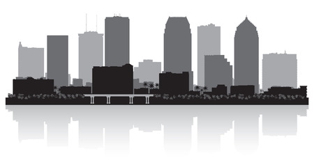waterfront: Tampa Florida city skyline vector silhouette illustration