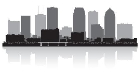Tampa Florida skyline vector silhouet illustratie Stock Illustratie