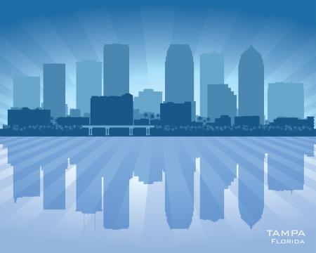 탬파 플로리다 도시의 스카이 라인 벡터 실루엣 그림 일러스트
