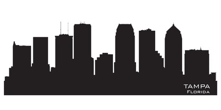 waterfront: Tampa Florida skyline Detailed vector silhouette