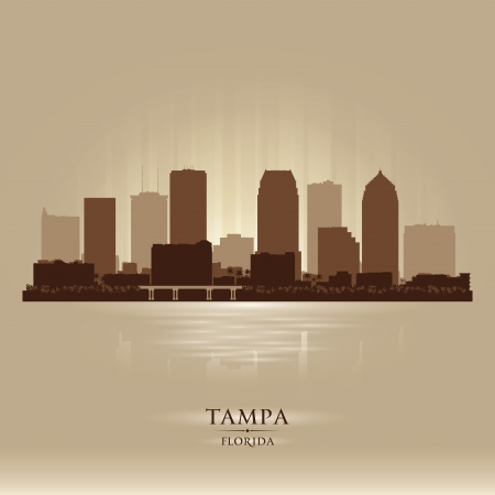 Tampa Florida city skyline vector silhouette illustration Stock Vector - 25465271