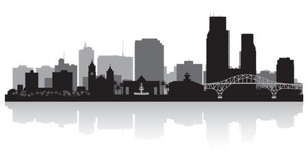コーパス クリスティ テキサス都市スカイライン ベクトル シルエット イラスト  イラスト・ベクター素材