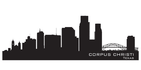 corpus: Corpus Christi Texas skyline Detailed vector silhouette