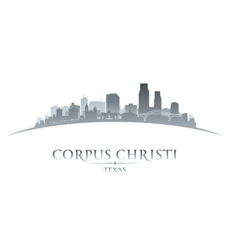 corpus: Corpus Christi Texas city skyline silhouette. Vector illustration