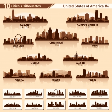 City skyline set. 10 vector city silhouettes of USA #6  イラスト・ベクター素材