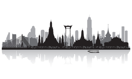 skyline city: Bangkok Thailand city skyline vector silhouette illustration
