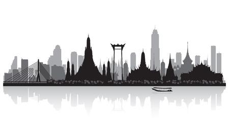 Bangkok Thailand skyline vector silhouet illustratie
