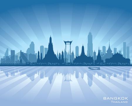 Bangkok Thaïlande toits de la ville vecteur silhouette illustration Banque d'images - 27483970
