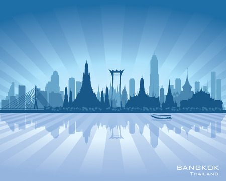 Bangkok Thailand city skyline vector silhouette illustration Stok Fotoğraf - 27483970