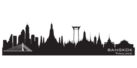panoramic view: Bangkok Thailand skyline Detailed vector silhouette