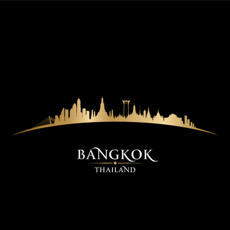 viaggi: Bangkok Thailandia orizzonte vettoriale dettagliata silhouette