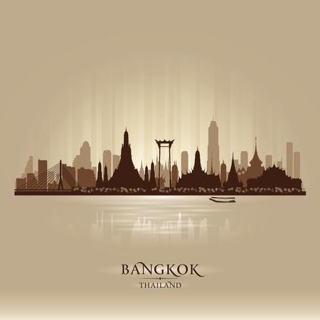 バンコク タイ都市スカイライン ベクトル シルエット イラスト