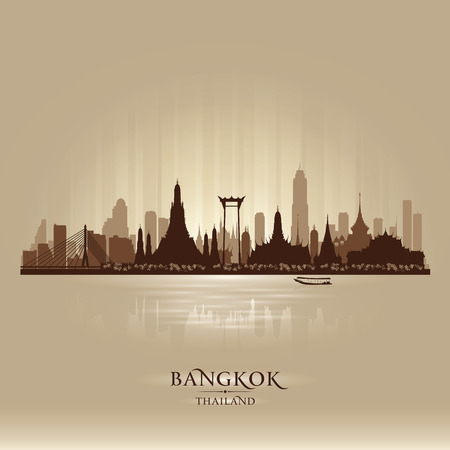 bangkok: Bangkok Thailand city skyline vector silhouette illustration