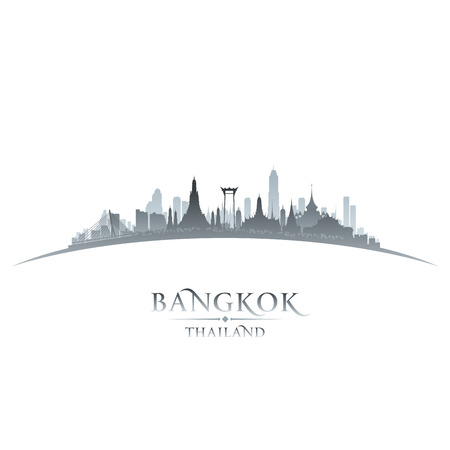 Bangkok Thailand skyline silhouet Vector illustratie Stock Illustratie