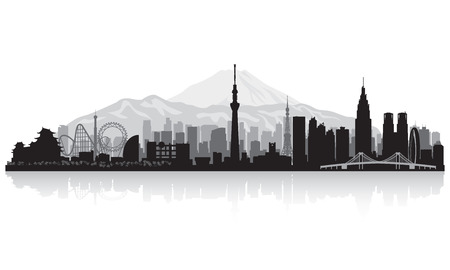 waterfront: Tokyo Japan city skyline vector silhouette illustration