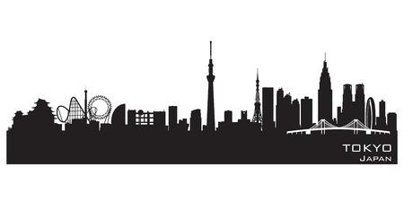東京日本スカイライン詳細なベクトル シルエット