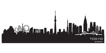 Tokyo Japan skyline Detailed vector silhouette