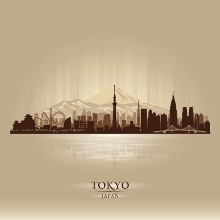 일본 도쿄 도시의 스카이 라인 벡터 실루엣 그림 일러스트