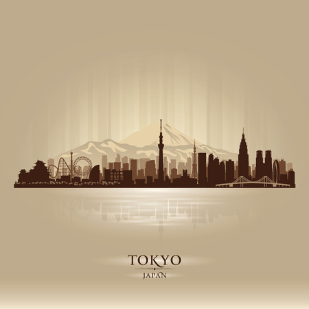 Tokyo Japan city skyline vector silhouette illustration Фото со стока - 27567491
