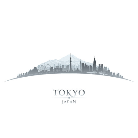 cestování: Tokyo Japan panorama města siluetu. Vektorové ilustrace