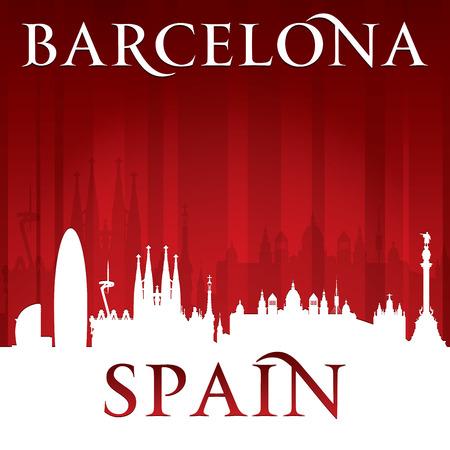 Barcelona Spain city skyline silhouette. Vector