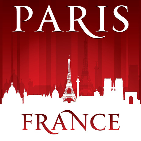 Paris France city skyline silhouette. Vector