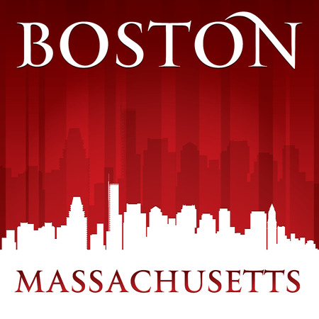 Boston Massachusetts city skyline silhouette. Vector