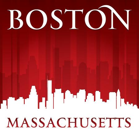 boston: Boston Massachusetts city skyline silhouette.
