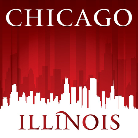 Chicago Illinois city skyline silhouette.  Vector