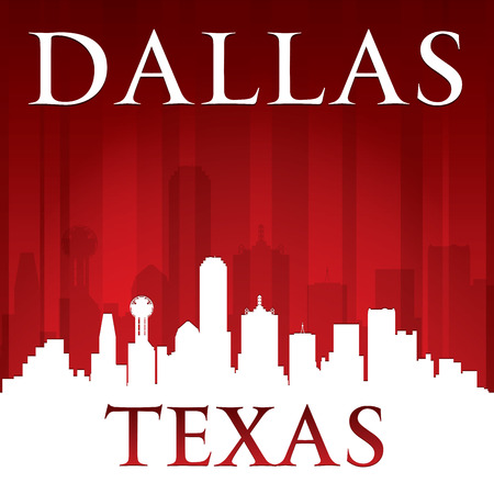 Dallas Texas city skyline silhouette.  Vector