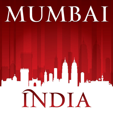 india city: Mumbai India city skyline silhouette.  Illustration