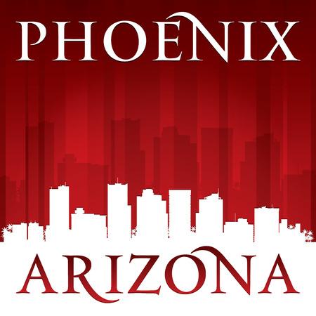 ave fenix: Phoenix Arizona silueta horizonte de la ciudad.