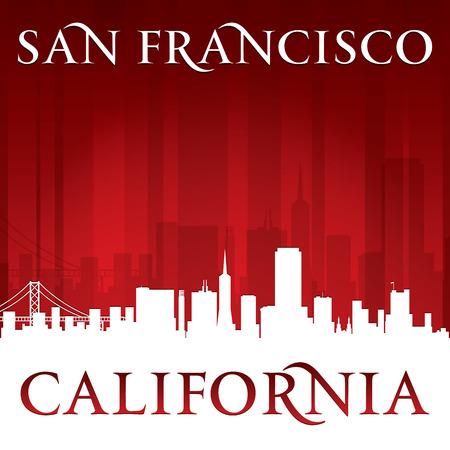 San Francisco California city skyline silhouette.  Vector