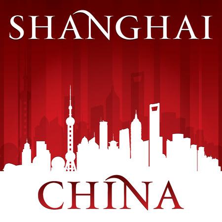 Shanghai China city skyline silhouette.  Vector