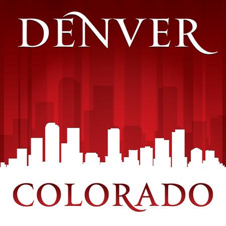 Денвер: Денвер, Колорадо город небоскребов силуэт. Векторная иллюстрация Иллюстрация
