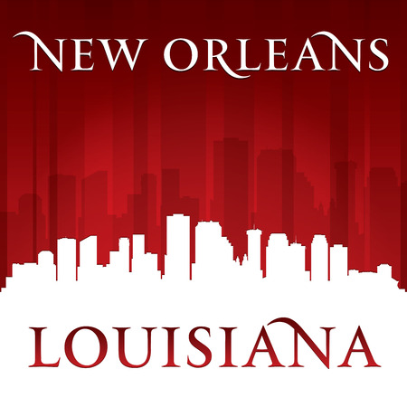new orleans: New Orleans Louisiana city skyline silhouette. Vector illustration