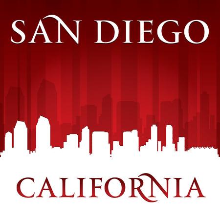 san diego: San Diego California city skyline silhouette. Vector illustration