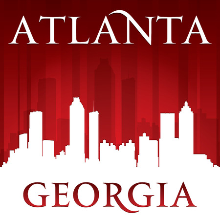 georgia: Atlanta Georgia city skyline silhouette. Vector illustration