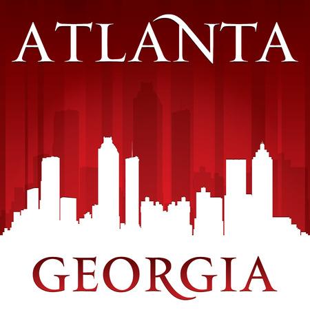 georgia: Atlanta Georgia city skyline silhouette. Vector illustration