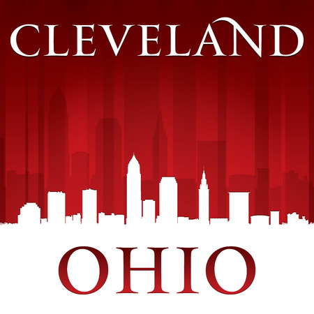 highrise: Cleveland Ohio city skyline silhouette. Vector illustration Illustration
