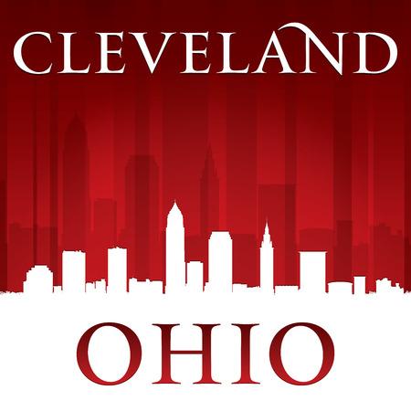 ciudad: Cleveland Ohio silueta horizonte de la ciudad. Ilustración vectorial