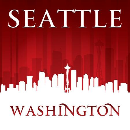 Seattle Washington city skyline silhouette. Vector illustration