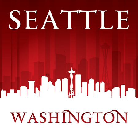 Seattle Washington city skyline silhouette. Vector illustration