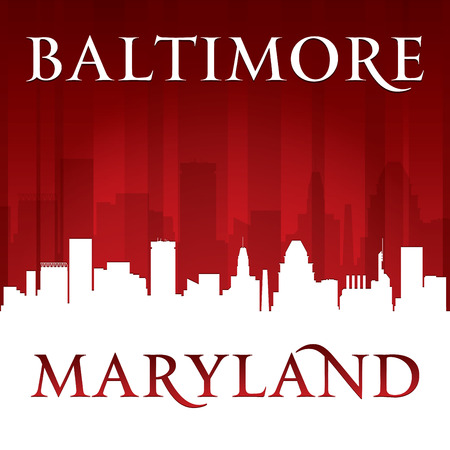 baltimore: Baltimore Maryland city skyline silhouette. Vector illustration