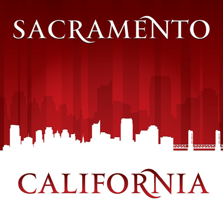 sacramento: Sacramento California city skyline silhouette. Vector illustration